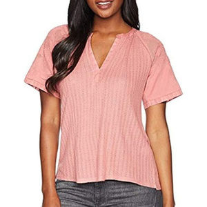 Lucky brand pink lace sleeve textured knit top